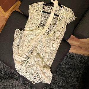 Zara Basic lace shell wrap dress